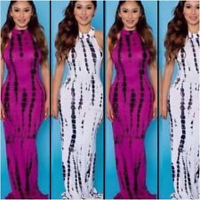 Women's Full Length Tye Dye Open Back Maxi Dress Size S (Magenta)
