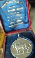 LARGE HEAVY Silver Shire Horse Medal 1897 United Counties  Carmarthen , S. Wales