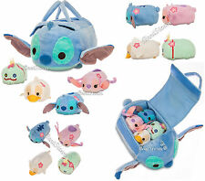 "NEW Lilo & Stitch 8"" L Plush Bag W/ 4 Tsum Tsum Mini Plush 3 1/2"" L Disney Store"