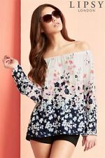 NEW Lipsy London Bardot Long Sleeve Blouse Top Floral Womens Size 10 RRP £35