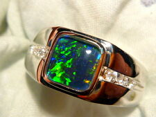 Mens Opal Ring Sterling Silver, Natural Opal Triplet. 8mm Square . item 100776.