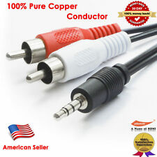 12FT Aux Audio 3.5mm Stereo Male to 2RCA Y CABLE FOR IPOD MP3 3.5mm to RCA Cable