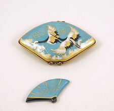 NEW FRENCH LIMOGES TRINKET BOX GORGEOUS BLUE FAN CRANE BIRDS w MINIATURE REM FAN