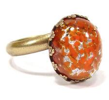 SoHo® Ring vintage bronze 12x10mm orange silver handgemachtes japanisches Glas