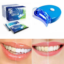 Teeth Whitening Strips+Lamp Tooth Whitener Kit Home Dental Laser Bleaching White