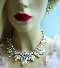 Rhinestone Necklace Earring Set AB Bridal Crystal Jewery Pageant Drag Queen