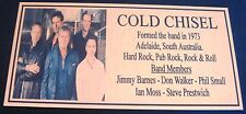"""JIMMY BARNES """"Cold Chisel""""  Gold Plaque col Picture Free Postage*******"""
