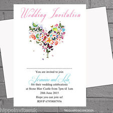 Personalised Butterfly heart Wedding Evening Day Reception Invitations x12 H0512