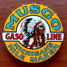 Vintage Porcelain Sign - MUSGO GASOLINE - Native - Petroliana - Lubster - Oil