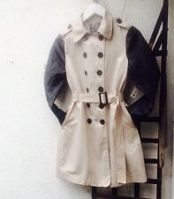 Ladies Lipsy Mac Trench Coat Jacket Contrast Winter Mod Cotton Blend UK 8