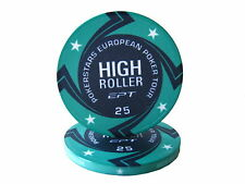 Blister da 25 fiches EPT HIGH ROLLER Replica poker Ceramica 10 gr. valore 25