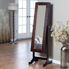 Brown Free Standing Mirror Jewelry Armoire Storage Furniture Home Living Bedroom