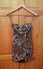 NWOT Asos Strapless Animal Print Wrap Effect Dress - Size 8