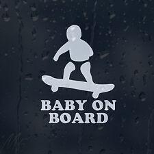Baby Skateboarder On Board Decal Vinyl Sticker For Window Panel Bumper