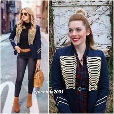 BLOGGERS FAV!!! ZARA NAVY BLUE MILITARY STYLE JACKET WITH TOGGLES SIZE S UK 8