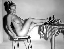1960s Nude Pinup Virginia Bell legs propped up on cafe table 8 x 10 Photograph