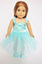 "Doll Clothes Fit AG 18"" Ballerina Dress Teal Slippers Made American Girl Doll"