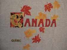 Canada Canadian Vacation Souvenir Quebec Travel Gray T Shirt M