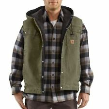 Carhartt 100114 Men's Sandstone Hooded Multi-Pocket Vest Army Green 2XL