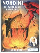 POSTCARD OF ADVERTISEMENT FOR NORDINI THE WHITE FAKIR IN DEVILS HELL ILLUSIONIST