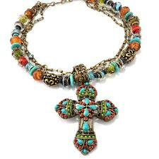 NEW SWEET ROMANCE MAYAN CROSS LAMPWORK BEADS SOUTHWESTERN NECKLACE BIG & BOLD