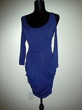 Nwot Boutique Blue Bodycon Sexy Club, Cold shoulder ruched Dress, size M
