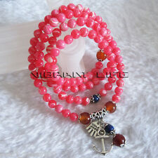 "26"" 6mm Rhodochrosite Stone Bead Necklace Or 4Row Bracelet AC"