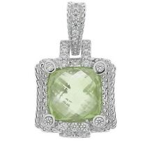 NEW Judith Ripka Sterling 6.50ct Mint Quartz & Diamonique Enhancer GORGEOUS!