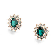 GORGEOUS 18K ROSE GOLD PLATED EMERALD SWAROVSKI CRYSTAL CLIP-ON EARRINGS