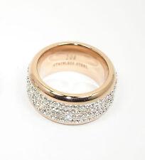 Edelstahl Damen Ring 12mm breit rosegold silber vielen Zirconia Steinen
