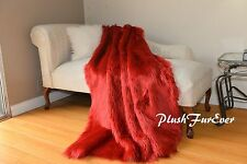 Red Shaggy Comforter Throw Blankets Faux Fur Decor Home Accent Sheepskin
