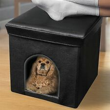 Pet Ottoman Small Dog Cat Pet Water Resistant Faux Leather Collapsible Hideaway