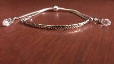 STERLING SILVER CONTEMPORARY ETCHED DESIGN BRACELET WITH CRYSTALS - ADJUSTABLE