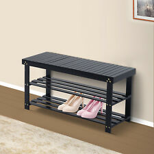 Wooden Shoe Bench Storage Seat 2 Shelves Rack Organizer Entryway Furniture Black