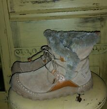 EARTH SHOES BOOTS THINSULATE FAUX FUR SUEDE WINTER BROWN LADIES 7 M FLEECE LINED