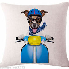BROWN DACHSUND DOG on VESPA New LINEN-COTTON Canvas CUSHION COVER Puppy, UK Sale