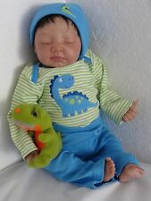 Reborn AA/Biracial/Ethnic/Hispanic Newborn Sleeping Baby Boy Doll w. Heartbeat!