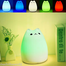 Multicolor Color Changing Silicone Cat Kitten LED Night Light Bedside Lamp