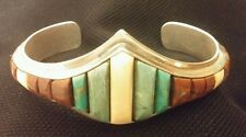 Gorgeous Hopi Indian Sterling Silver Bracelet Turquoise signed Snow Horse