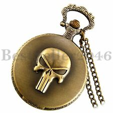 Retro Steampunk Skull Pattern Digital Dial Quartz Pocket Watch Pendant Necklace