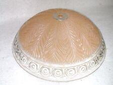 """Vtg Art Deco Pink Fern Leaf Ceiling Light Cover Globe Shade Bulls Eye Edge 11 ¼"""""""
