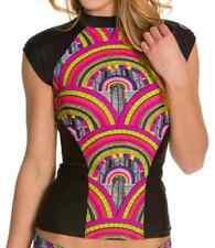 New RIP CURL WOMENS MODERN MYTH RASHGUARD Cap-Sleeve BLACK / MULTI-COLOR - SMALL