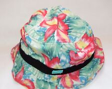 NWT NEW HAT BUCKET OFFICIAL GREEN PINK FLORAL SIZE STRETCH L/XL UP TO 7 3/8 #D3