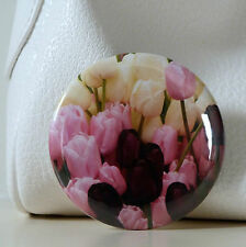 FLOWER POCKET MIRROR WITH ORGANZA BAG - TULIPS - MULTI MAKE UP HANDBAG