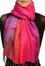 Large Ombre Paisley On Magenta Pashmina With Tassels (SF002576)