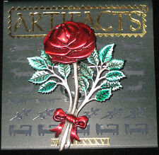 RED ROSE Pin Brooch Artifacts brand Detailed Green Leaves Romantic Flowers New