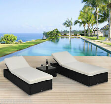 Outdoor 3pc Patio Rattan Wicker Sun Chaise Lounge Chair Garden Furniture Set