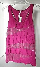 Aeropostale Pink Ruffled Knit Top w/Sequinned Lace Junior Size M Ret $32.50 NWT