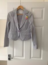 LADIES 'PEPE JEANS LONDON' NAVY/WHITE STRIPED BLAZER JACKET. SIZE SMALL.GOOD CON