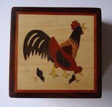HAND CRAFTED ROSE WOODEN INLAID MARQUETRY PUZZLE GIFT BOX - CHICKEN HEN FARMYARD